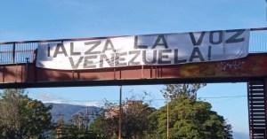 ¡Alza la voz Venezuela! Así amaneció Mérida… con una gran pancarta que invita a la reflexión (Foto)
