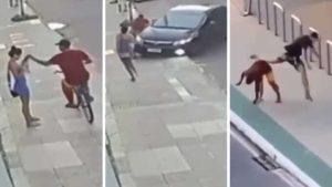 Todo quedó grabado: Hombre se da cuenta del robo a su novia y arrolla al delincuente (VIDEO)