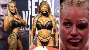 Boxeadora causó polémica por ir en lencería al pesaje y terminar con el rostro desfigurado (FOTOS)