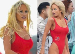 Rubia, bronceada y sensual: Filtran imágenes de Lilly James interpretando a Pamela Anderson