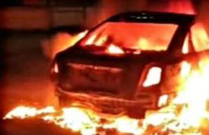 Un Optra se incendió en la carretera Negra La Flint de Anzoátegui este #13Jun